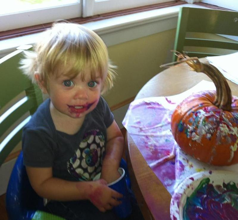 Shea Donnelly -painting pumpkins....and herself!