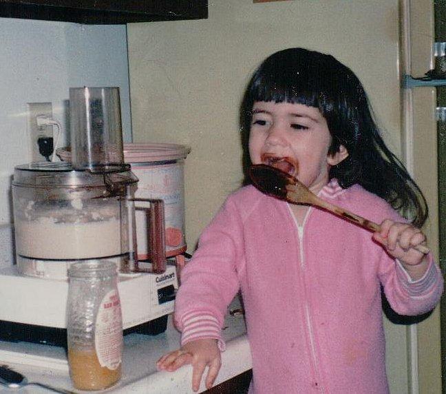 Sammie licking spoon