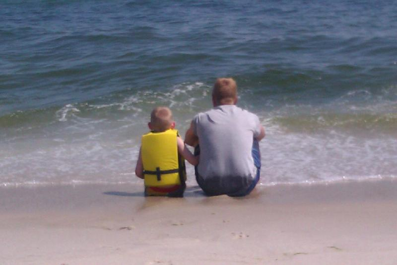 Matthew and Sean Sitting by the Sea