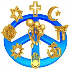 Peace sign with religious emblems