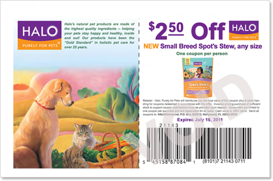 July 2011 Halo Small Breed Coupon