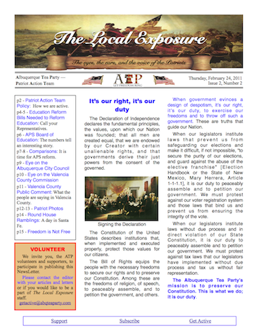 The Local Exposure Front Page I2:N2