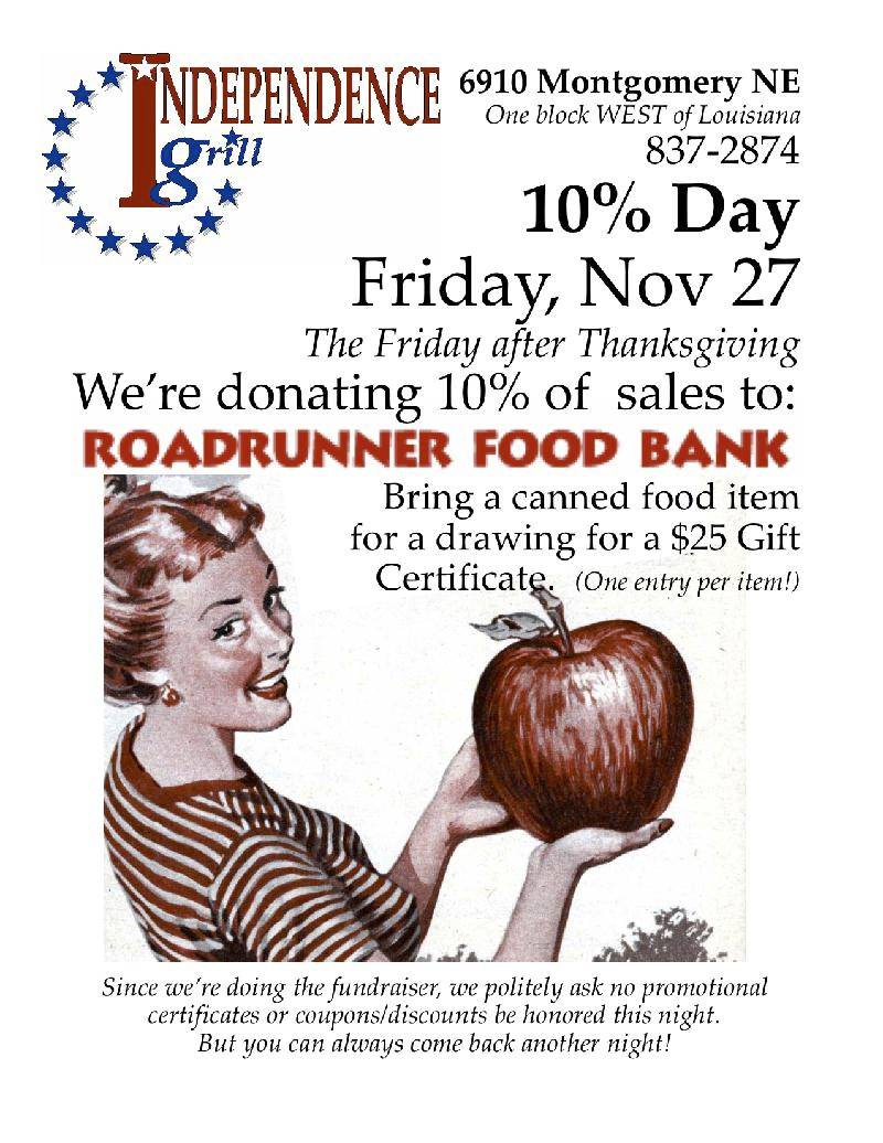 Independence Grill - Roadrunner Food Bank