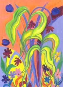 Wild Flowers original watercolor by Raphaella Vaisseau