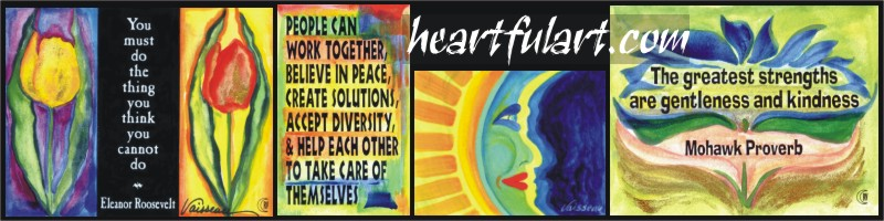 A collage of Heartful Art by Raphaella Vaisseau