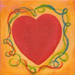 4 x 4 Original Heart Painting by Raphaella Vaisseau