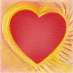 Heart of a Solar Flair - 4x4 original art by Raphaella Vaisseau