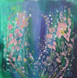 Lilacs and Roses 18x18 acrylic on canvas