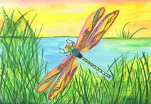 7x10 dragonfly painting by Raphaella Vaisseau