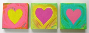Three 4x4 original hearts on canvas