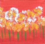 Tangerine Summer Three 4x4 acrylic on canvas