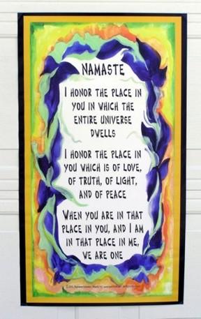 20x35 Namaste Banner by Raphaella Vaisseau