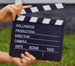 Clapperboard for film