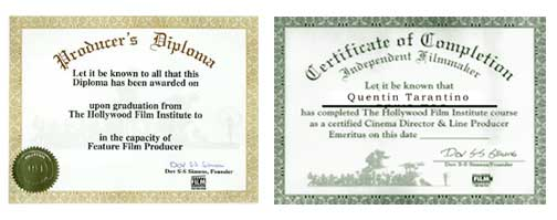 2 Day Film School Certificates