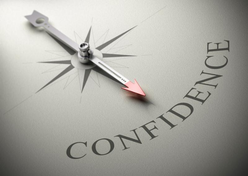 Needle of a compass pointing the word confidence 3D render concept image for self-confidence