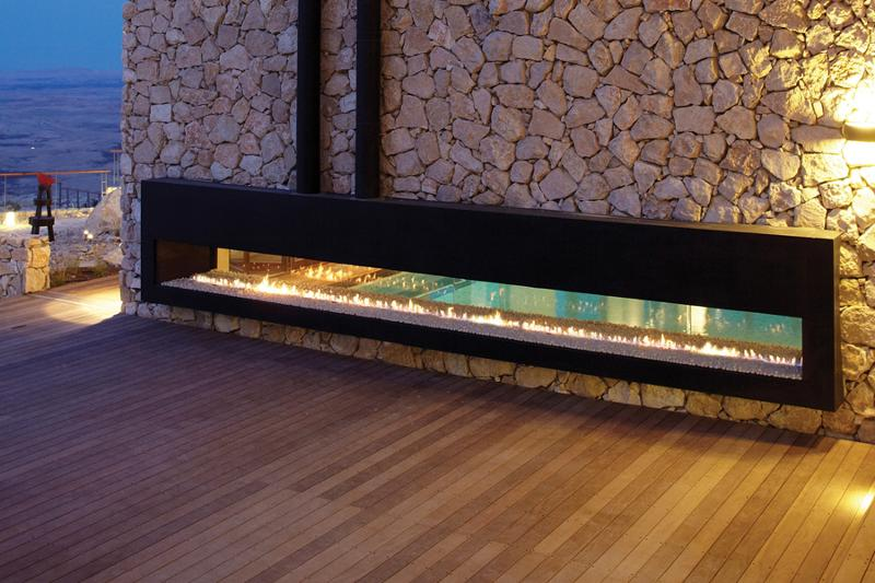 Double Sided Outdoor Fireplace Top Looking At The