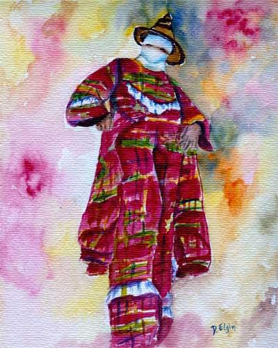 Painting of Mocko Jumbie by St. Croix artist Diane Elgin, hanging in The Buccaneer's Ficus Suite