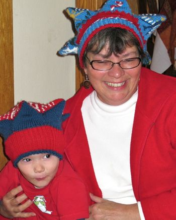 Owen and Grandma in Snowflake Berets