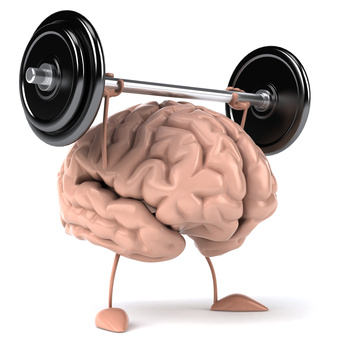 Picture of brain lifting weights