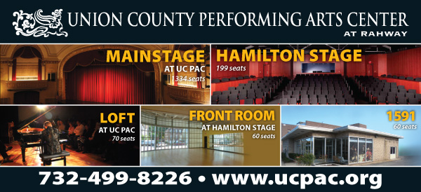 Union County Performing Arts Center's five performance venues: Mainstage, Hamilton Stage, Loft, Front Room and 1591