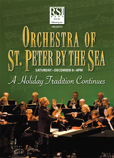 RSI Bank presents Orchestra of St. Peter by the Sea on Saturday 12/08 at 8PM.