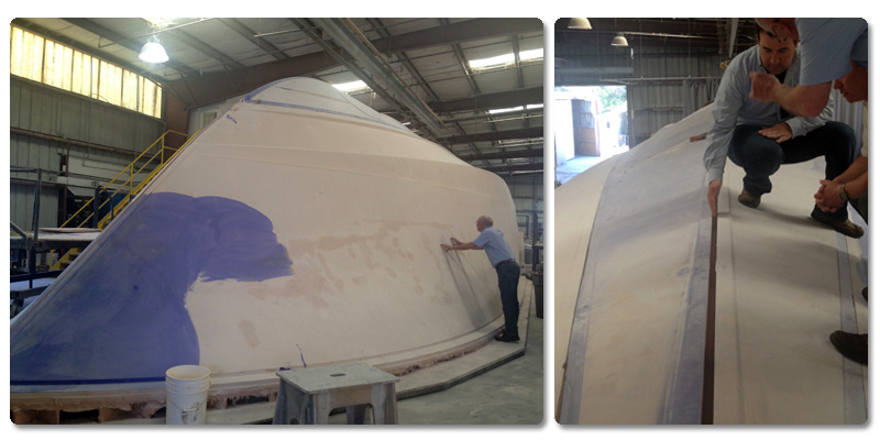 The Hull mold for the massive new VIking 75 Motor Yacht.