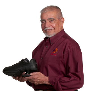 Al Gallegos holding a Z-CoiL shoe