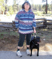 Randi with her dog and Z-CoiL shoes