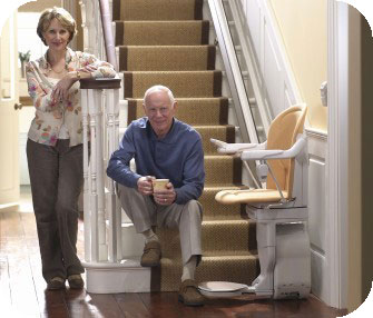 Couple with stair chair