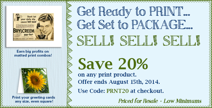 Save 20 percent on printing through Aug.15, 2014