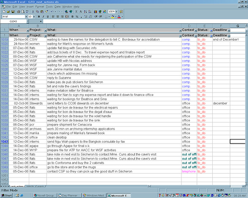 how to make list in excel 2003