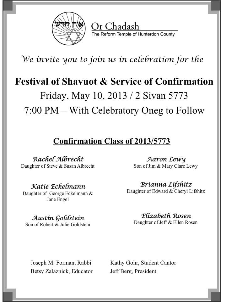 Confirmation Invitation 2013