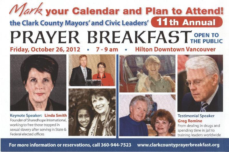 2012 Prayer Breakfast Announcement
