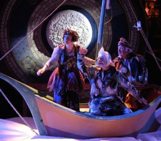 The Celestial Fools take to the sea on their quest for the new year. (From the 2011 production in Cambridge, MA.)