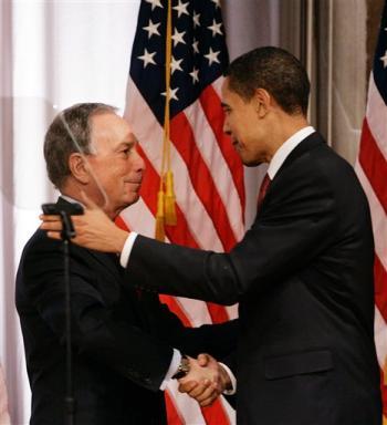 Obama & NY Mayor Michael Bloomberg-3-08