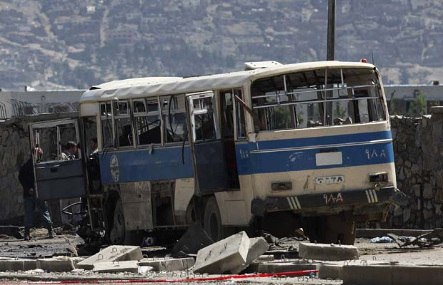 Public bus in Kabul after bombing