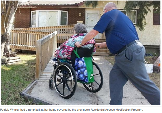 Patricia Whaley had a ramp built at her home covered by the province's Residential Access Modification Program.