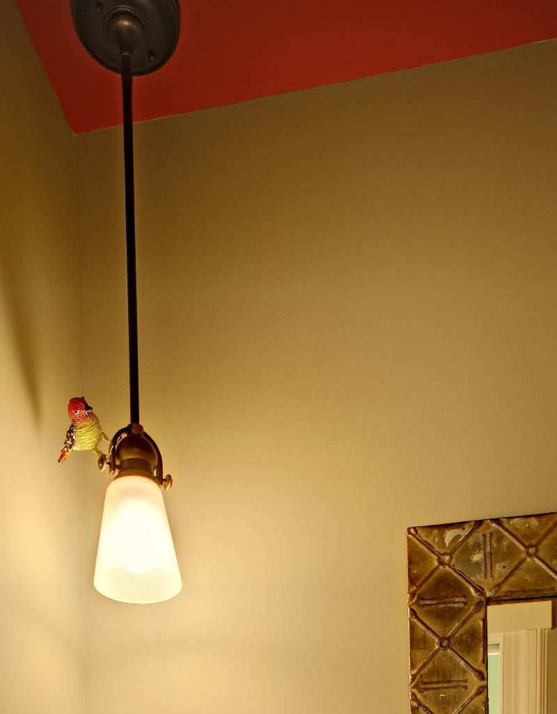 Bird on pendant light
