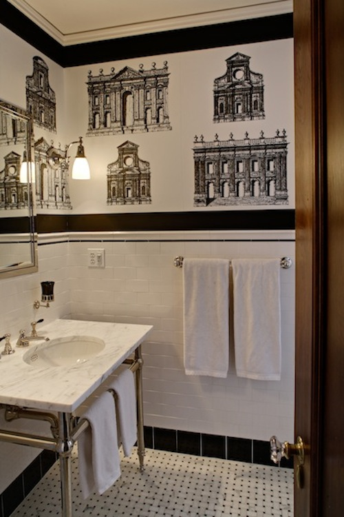 classic white and black bathroom