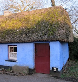 blue thatched cottage Bunratty Ireland