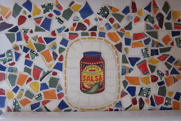 broken tile mosaic with slasa