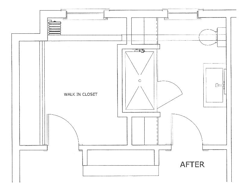 White master bathroom floor plan after renovation.