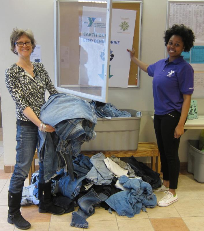 Collecting denim for recycling into insulation