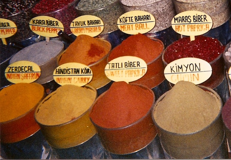 Spices for sale in the market in Istanbul.