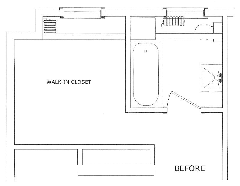 White master bath floor plan before renovation.