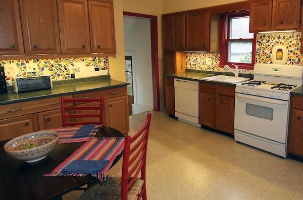 broken tile backsplash - kitchen overview
