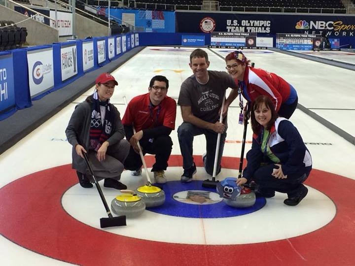 Posing on the ice in Fargo at the US Curling Olympic Trials. Best night e