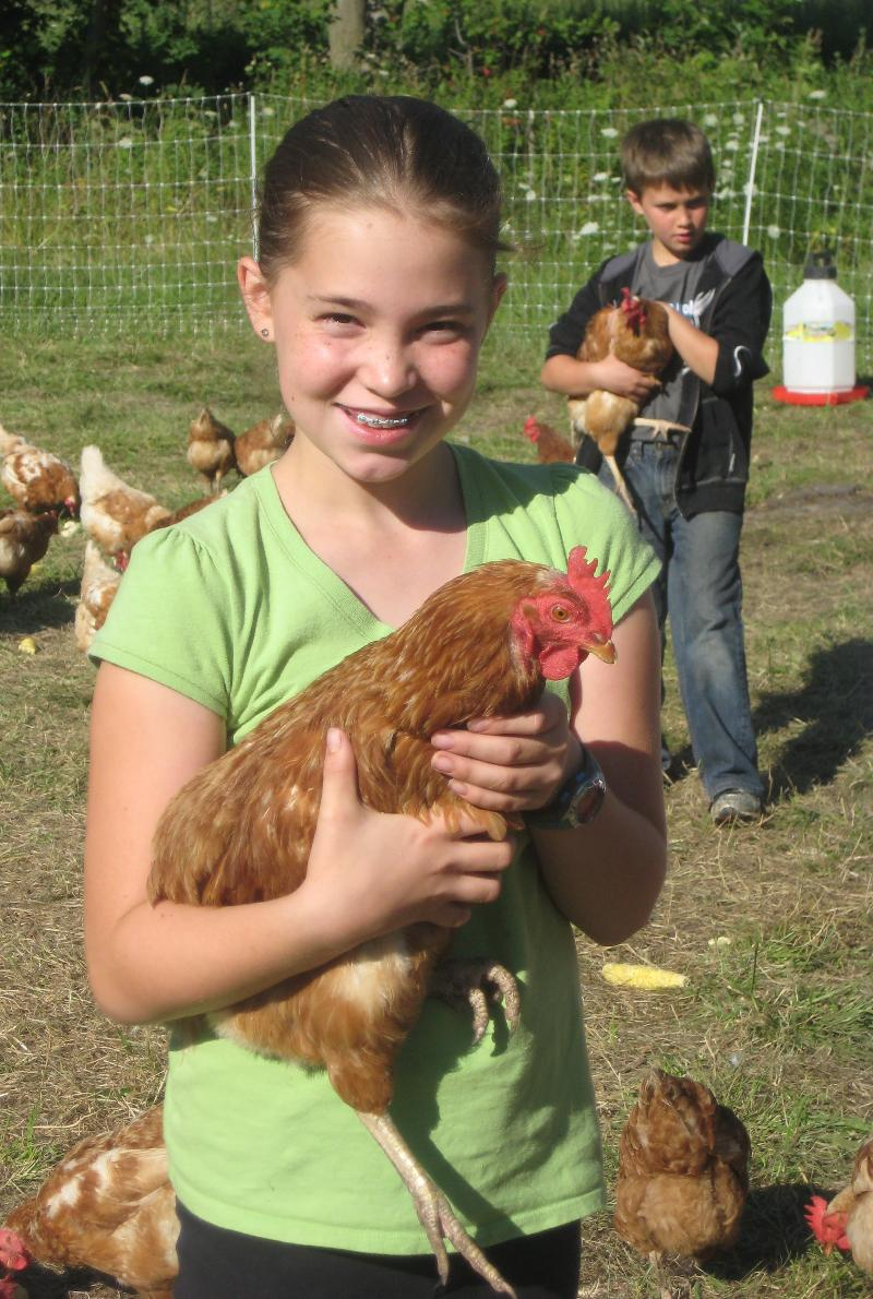 kids with chickens