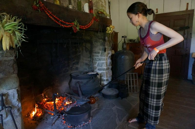 raking coals in hearth