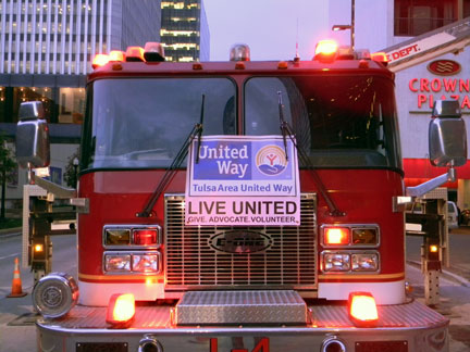Fire truck with TAUW banner